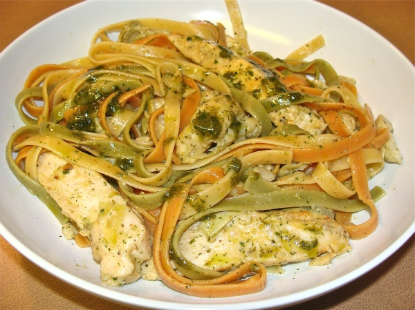 Pesto Spinach Fettucine with Chicken and Artichoke Hearts